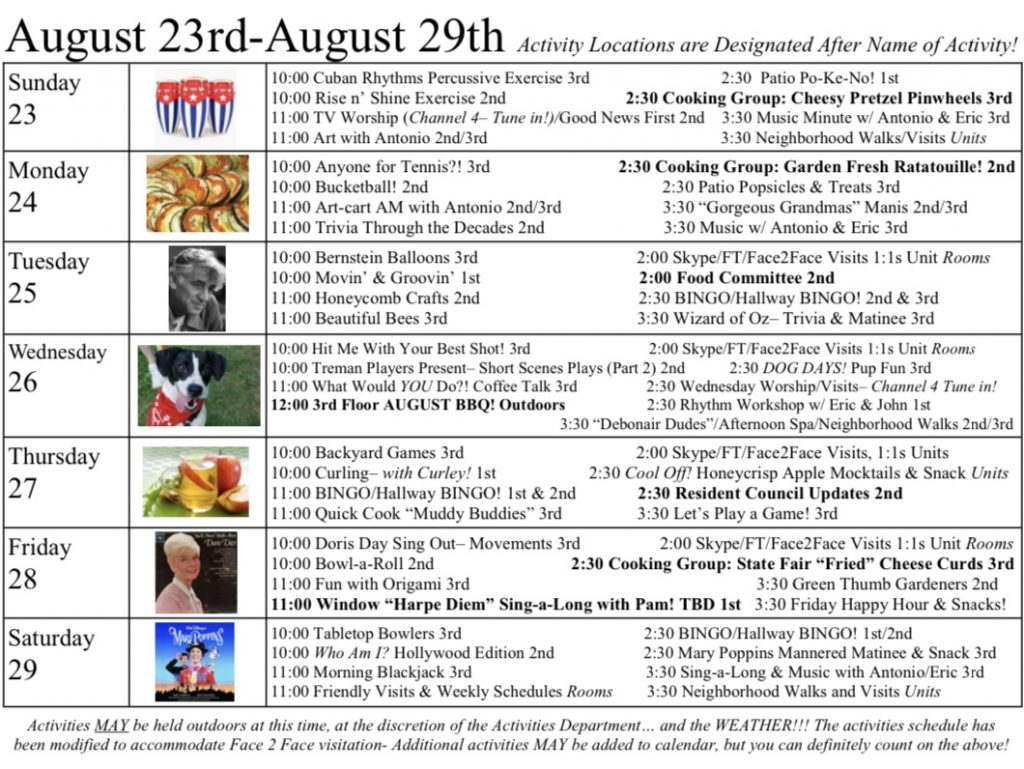 Event Calendar Week of August 23, 2020