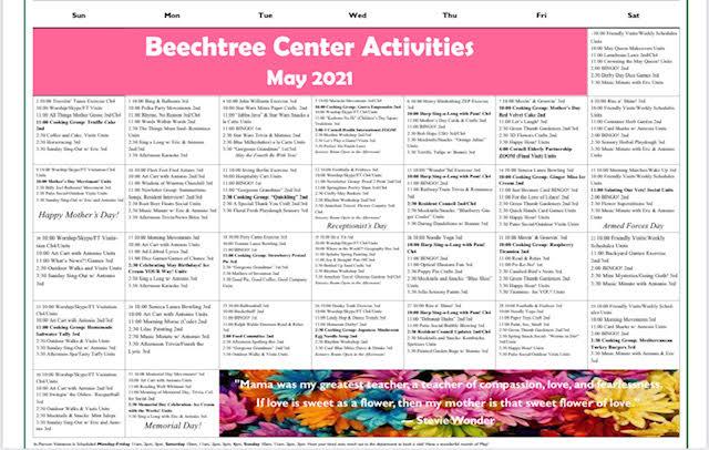Beechtree May 2021 Event Calendar