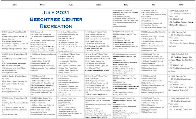 Beechtree June 2021 Event Calendar