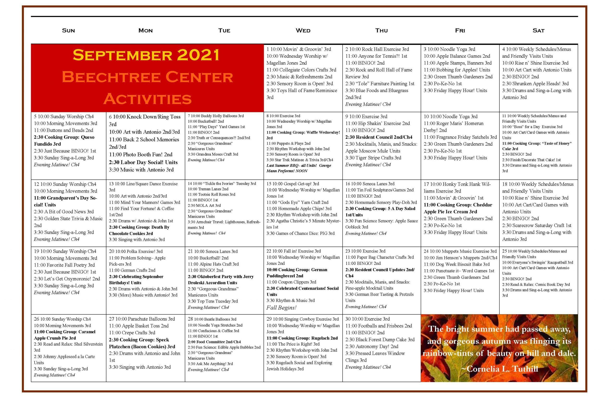 Beechtree August 2021 Event Calendar